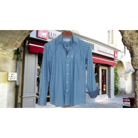 Chemise Saint Tropez chamray Plumetis ciel