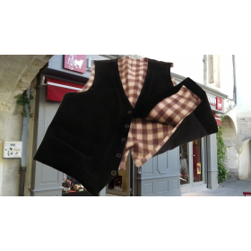 gilet paysan camargue marron velours-Pc