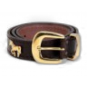 ceinture cuir 25mmmotif cheval doré