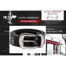 "ceinture cuir 25mm motif croix gardiane"" Argent"