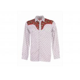 Chemise Western Salicorne Blanc/Rouge