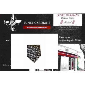 Cravate soie noir/gris