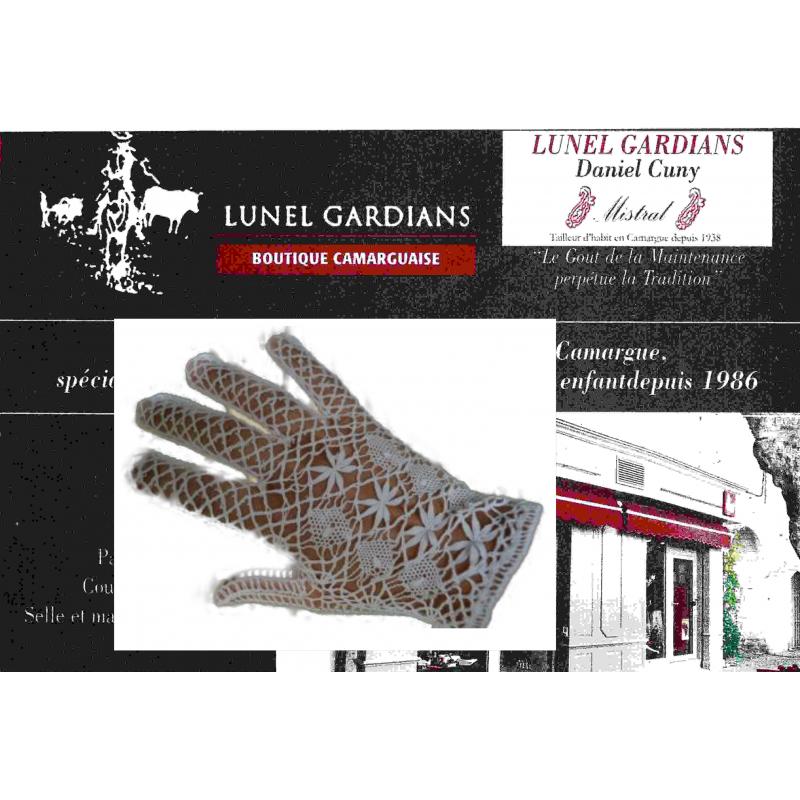 gants fuseaux/mitaines ecru blanc noir