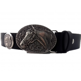 Ceinture cuir noir boucle tête de cheval argent