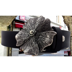 ceintue cuir de vachette noir boucle fleure