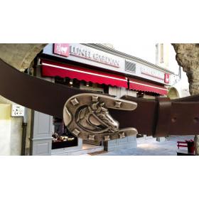 ceinturon cuir 40 mm boucle tête de cheval argent