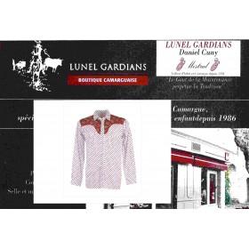 Chemise Western Camarguaise Salicorne Rouge Fond Blanc