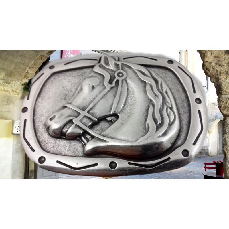 Boucle ceinturon Tête de cheval argent