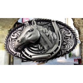 Boucle ceinturon Tête et fer de cheval argent
